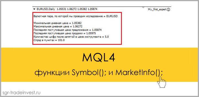 MQL4: вывод информации о валютных инструментах на график. Функции Symbol(); MarketInfo();
